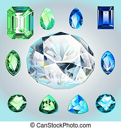 Diamonds and emeralds of different shapes and cut -...
