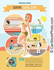 Template for a poster on the spa salon. Reception, massage, solarium and sauna. Women in beauty studio vector illustration flat cartoon style