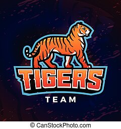 Tiger mascot vector. Sport design template. Football or baseball illustration. College league insignia, School team icon on dark background.