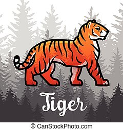 Double exposure Bengal Tiger in forest poster design. vector...