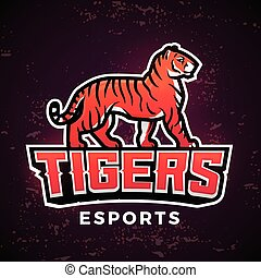 Premade tiger mascot vector. Sport logo design template....