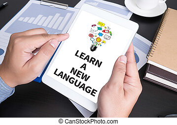 LEARN A NEW LANGUAGE Modern people doing business, graphs...