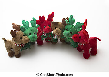 reindeer family portrait - brown, green and red reindeer...