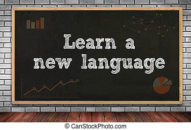 Learn a new language on brick wall and chalkboard background