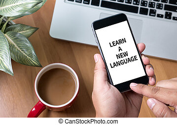 LEARN A NEW LANGUAGE Thoughtful male person looking to the...