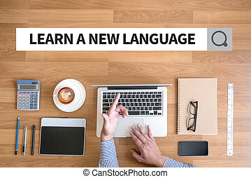 LEARN A NEW LANGUAGE Businessman working with financial...