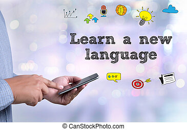 Learn a new language person holding a smartphone on blurred...