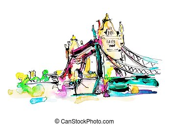Watercolor sketch painting of The Tower Bridge in London...