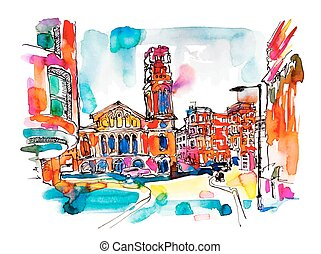 sketch watercolor painting of London street with church, bright