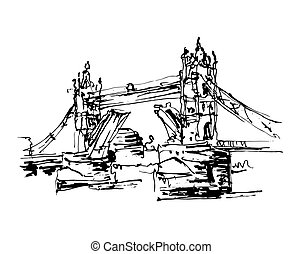 Black and white sketch drawing vector illustration of London...