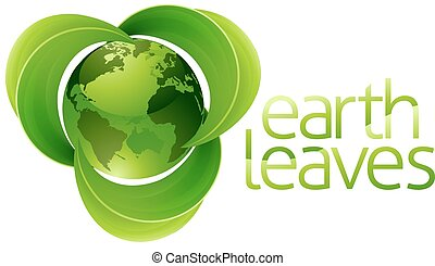 Leaves Globe Earth Concept - Conceptual icon of planet earth...