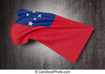 Independent State of Samoa flag - 3d rendering of...