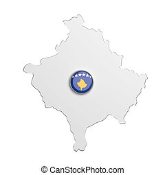 Silhouette of Kosovo map with flag on button - 3d rendering...
