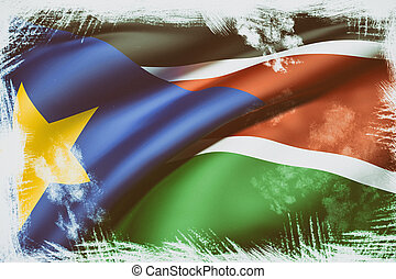 South Sudan flag waving - 3d rendering of South Sudan flag...