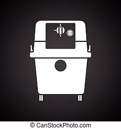 Vacuum cleaner icon. Black background with white. Vector...