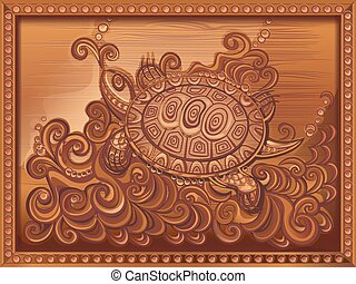 woodcarving turtle carved on the board - vector...