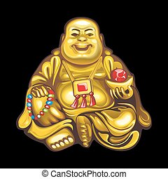 Collection of mascots: Hotei - Vector objects talismans Feng...