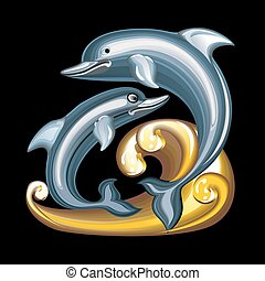 Collection of mascots: statuette dolphins - Vector objects...