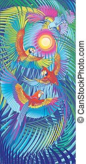 A series of panels birds: Place in the Sun - Interior...