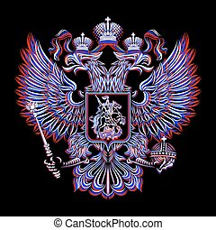 Russian Coat of Arms on a black background in three colors -...