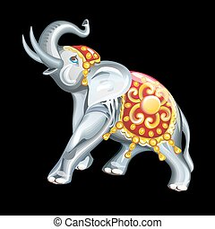 Collection of mascots: statuette of an elephant - Vector...