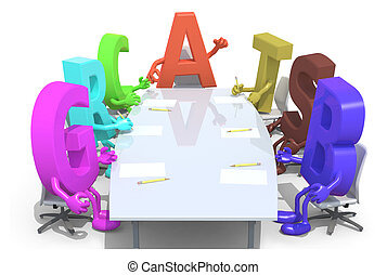 many 3d fonts meeting around the table and follow the letter A