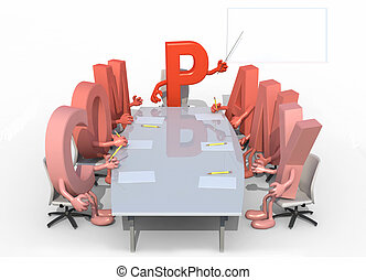 many 3d letters forming the word company, around a meeting table