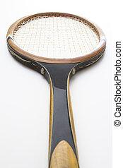 vintage tennis racket - Vintage wood tennis racket viewed...