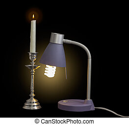 Light fixture with fluorescent lamp and burning candle in...