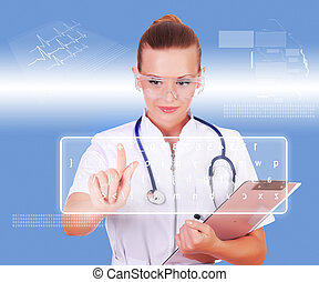 Young nurse in white uniform - Young doctor in white...