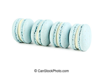 French blue macarons isolated on a white