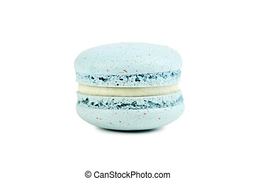 French blue macaron isolated on a white