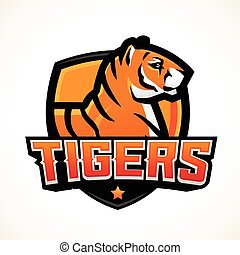 Tiger shield sport mascot template. Premade football or...