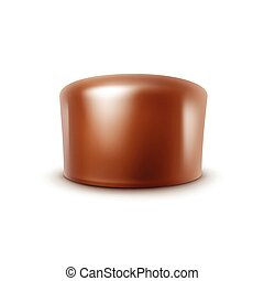 Milk Chocolate Candy Isolated on White Background - Vector...