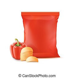 Stack of Potato Chips with Paprika and Plastic Bag - Vector...