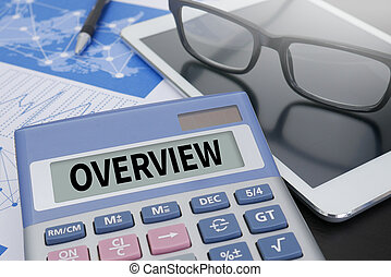 OVERVIEW Calculator  on table with Office Supplies. ipad