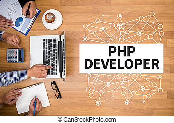 PHP DEVELOPER Business team hands at work with financial...