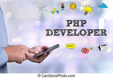 PHP DEVELOPER person holding a smartphone on blurred...