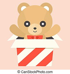 Vector teddy bear in a box
