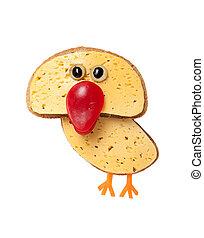 divertido, hecho, queso, aislado, Plano de fondo, pollo,...