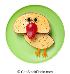 divertido, hecho, placa, queso, pollo,  bread