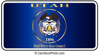 Utah License Plate Flag - Utah license plate in the colors...