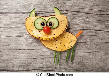 queso, hecho, gato, escritorio, sorprendido,  bread