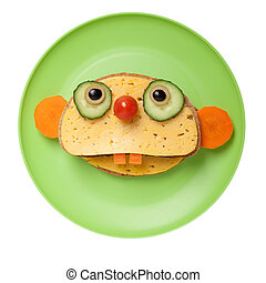 Sloth made of bread and cheese on plate