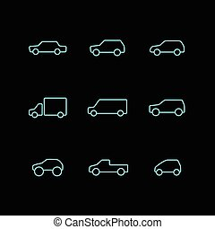 Vector set of car icons.