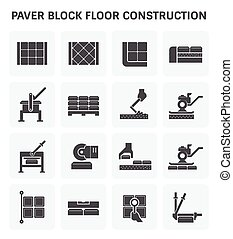 Paver block icon - Paver block floor construction vector...