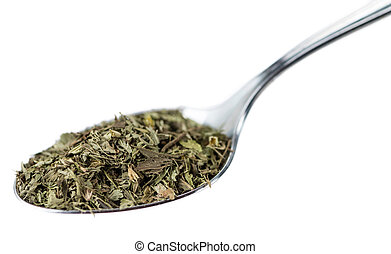 Dried Stevia leaves isolated on white background (close-up...