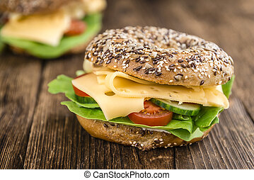 Bagel with Cheese (Gouda) and some fresh vegetables...