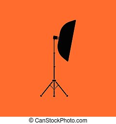 Icon of softbox light. Orange background with black. Vector...