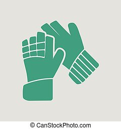 Soccer goalkeeper gloves icon. Gray background with green....